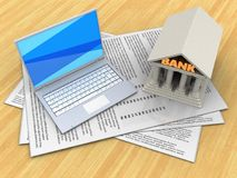 3d papers. 3d illustration of papers and white laptop over wood table background with bank Royalty Free Stock Image