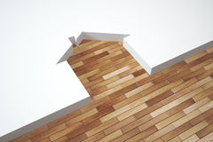 3D illustration parquet texture and silhouette of the house Royalty Free Stock Photography