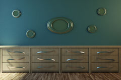 3d illustration part of an interior room. With a bedside table and wall paintings Royalty Free Stock Photography