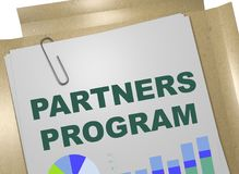 PARTNERS PROGRAM concept. 3D illustration of PARTNERS PROGRAM title on business document Stock Photography