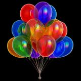 3d illustration of party balloons colorful birthday balloon bunch. 3d illustration of party balloons colorful, happy birthday helium balloon bunch, holiday Royalty Free Stock Image