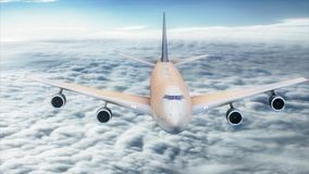 3d illustration passenger plane flying in the sky above the clouds. The passenger plane of white color with a blue tail flies against a background of clouds and Royalty Free Stock Photo