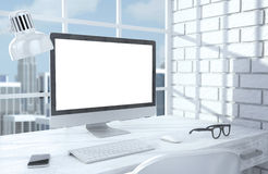 3D illustration PC screen on table in office Stock Photo