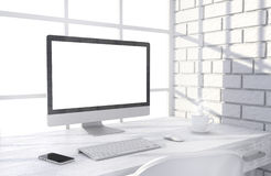 3D illustration PC screen on table in office Stock Images