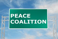 Peace Coalition concept. 3D illustration of PEACE COALITION script on road sign Stock Photo