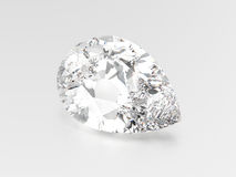 3D illustration pear diamond stone. On a grey background Royalty Free Stock Image