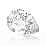 3D illustration pear diamond stone with reflection. On a white background Stock Image