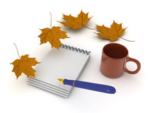 3D illustration of a pen and notebook with autumn leaves around Royalty Free Stock Photos