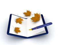 3D illustration of a pen and notebook with autumn leaves around Royalty Free Stock Photography