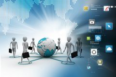 3d people around the globe. 3d illustration of people around the globe Royalty Free Stock Photos
