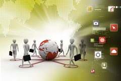 3d people around the globe. 3d illustration of  people around the globe Stock Images