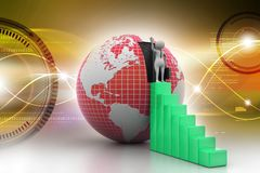 3d people with graph and globe. 3d illustration of people with graph and globe Stock Photos