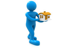 3d illustration of people was holding a house. 3d people was holding a house Stock Image