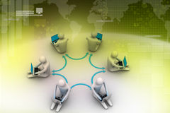 3d illustration of people working online on laptop. In color background Royalty Free Stock Photos