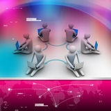 3d illustration of people working online on laptop. In color background Stock Image
