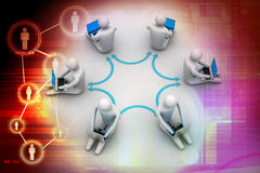 3d illustration of people working online on laptop. In colour background Royalty Free Stock Photography