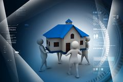 Peoples holding home. 3d illustration of Peoples holding home Stock Photography