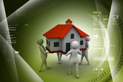 Peoples holding home. 3d illustration of Peoples holding home Stock Photos