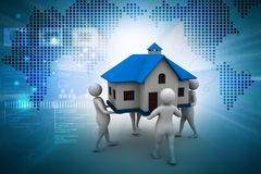 Peoples holding home. 3d illustration of Peoples holding home Royalty Free Stock Photo