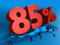 3d of 85 percent discount. 3d illustration of 85 percent discount over blue background Stock Photos