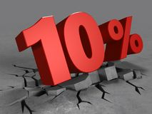 3d of 10 percent discount. 3d illustration of 10 percent discount over concrete background Stock Photo