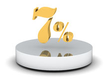 7 percent discount sign, golden color. 3d illustration of 7percent discount sign, golden color Royalty Free Stock Photography