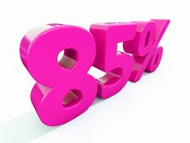 85 Percent Pink Sign. 3d Illustration 85 Percent Discount Sign, Sale Up to 85, 85 Sale, Pink Percentages Special Offer, Save On 85 Icon, 85 Off Tag, 85 royalty free illustration
