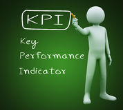 3d man writing kpi. 3d illustration of person with marker writing kpi key performance indicator.  3d rendering of people - human character Stock Images