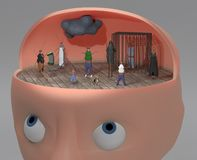 3d illustration of person with other faces like cockroach inside for inner voices and multiply personalities concept. 3d render of person with other faces inside royalty free illustration