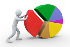 3d man completing pie chart Royalty Free Stock Photos