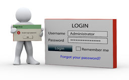 3d man holding invalid login message Stock Photo