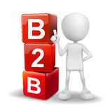 3d illustration of person with word B2B cubes Stock Photography