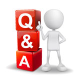 3d illustration of person with word Q&A cubes. On white background Stock Image