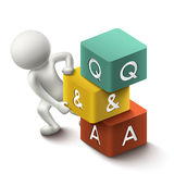3d illustration of person with word Q&A cubes. On white background Stock Photos
