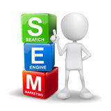 3d illustration of person with word sem cubes Stock Image