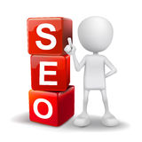 3d illustration of person with word seo cubes Stock Photos