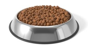 3d illustration of Pet food in bowl. Isolated on white Stock Image