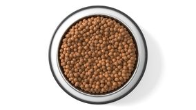 3d illustration of Pet food in bowl. Isolated on white Stock Images