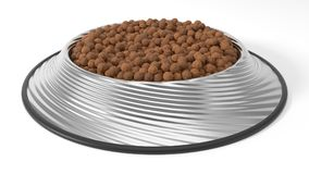 3d illustration of Pet food in bowl. Isolated on white Stock Photos