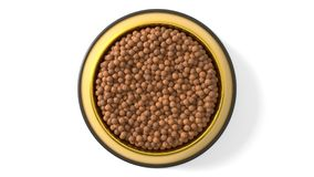 3d illustration of Pet food in bowl. Isolated on white Royalty Free Stock Photos