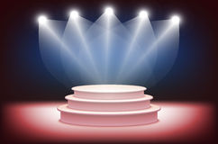 3d Illustration of Photorealistic  Podium Stage with Blue Stage Lights Background. Used for Product Placement, Presentations, Cont. Est Stage. Blue stage light Stock Photos