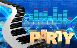 3d piano keys spectrum. 3d illustration of piano keys over cyber background with party sign Royalty Free Stock Photo