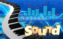 3d piano keys piano keys. 3d illustration of piano keys over cyber background with \'sound\' sign Stock Photos