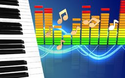 3d notes piano keys Stock Images