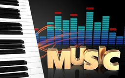 3d piano keys spectrum Royalty Free Stock Image