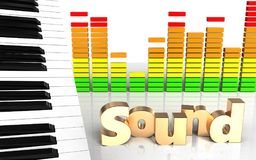 3d 'sound' sign audio spectrum Royalty Free Stock Image