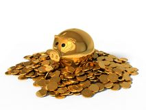 3d illustration of pig money box and golden coins. Stock Photo