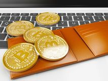3d Pile of bitcoin gold coins on a computer keyboard. 3d illustration. Pile of bitcoin gold coins on a computer keyboard. Bitcoin trading concept Royalty Free Stock Photos
