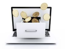 3d Pile of bitcoin gold coins on a computer keyboard. 3d illustration. Pile of bitcoin gold coins on a computer keyboard. Bitcoin trading concept Royalty Free Stock Images