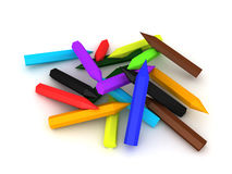 3D Illustration of a pile of colored pencils Royalty Free Stock Images